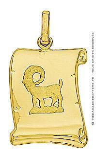 Pendentif Zodiaque Bélier Parchemin (Or Jaune)