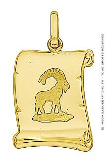 Pendentif Zodiaque Capricorne Parchemin (Or Jaune)