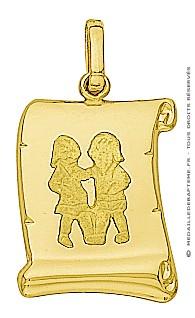 Pendentif Zodiaque Gémeaux Parchemin (Or Jaune)