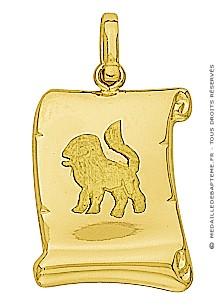 Pendentif Zodiaque Lion Parchemin (Or Jaune)