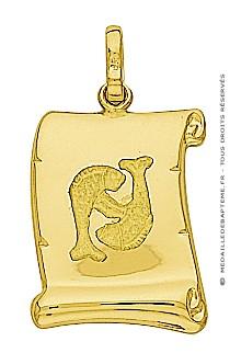 Pendentif Zodiaque Poisson Parchemin (Or Jaune)