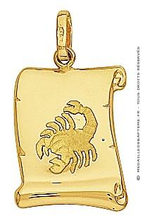 Pendentif Zodiaque Scorpion Parchemin (Or Jaune)