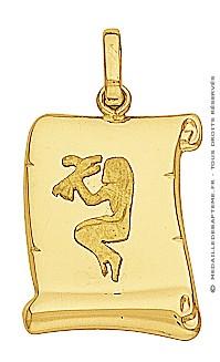 Pendentif Zodiaque Vierge Parchemin (Or Jaune)