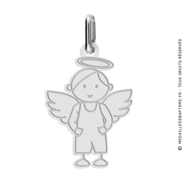 Pendentif ange garçon (Or Blanc)