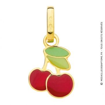 Pendentif Cerise Rouge Vert (Or Jaune)