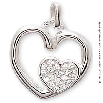 Pendentif Double Coeur Empierré (argent)