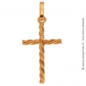 Pendentif Croix Torsadée deux ors (Or Jaune et Or Rose)
