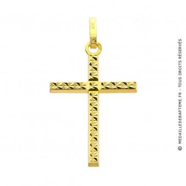 Pendentif Croix Facettée (Or Jaune)