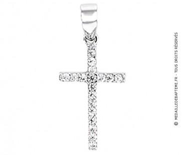 Croix Assortie de 17 Brillants (Or Blanc 9 carats)