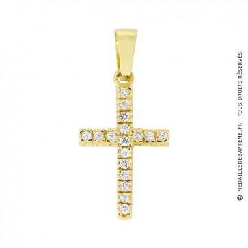 Croix Assortie de 17 Brillants (Or Jaune 9 carats)