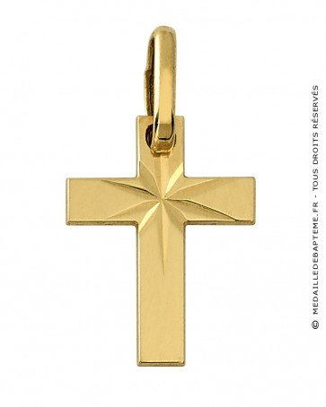 Pendentif Croix scintillante (Or Jaune)