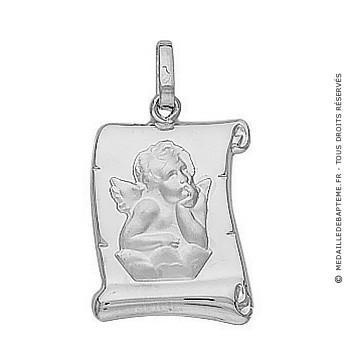 Médaille Ange Parchemin (Or Blanc)