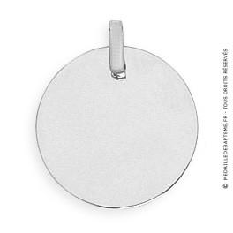 Pendentif Plaque Ronde (Or Blanc)