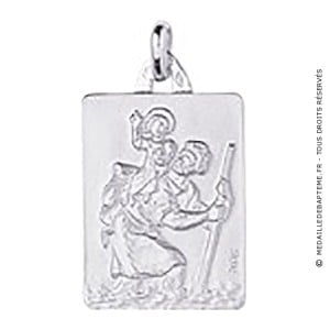 Médaille St-Christophe Rectangle (Argent)