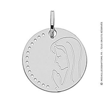 Medaille Jeton vierge en prière (Or Blanc 9k)