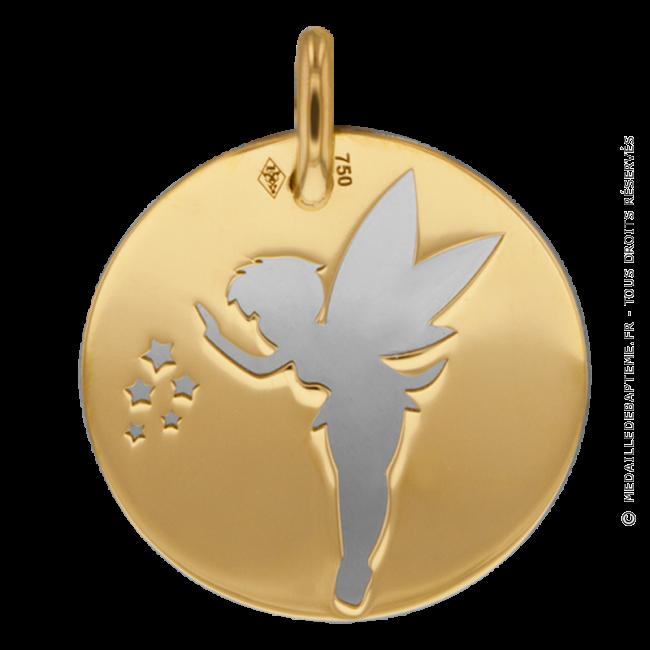 Medaille Fee Clochette Grise Or Jaune Et Acier