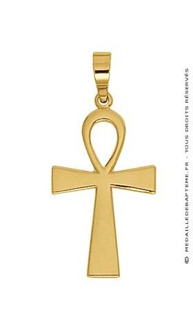 pendentif croix egyptienne or jaune. Black Bedroom Furniture Sets. Home Design Ideas