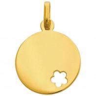 Médaille jeton fleur ajourée (Or jaune 9K)