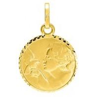 Médaille Ange à l'Oiseau bords ciselés (Or Jaune)