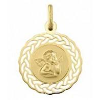 Médaille Ange ajouré tressé (Or Jaune)