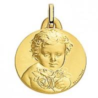 Médaille Chérubin à la rose 19mm (Or Jaune)