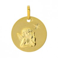 Médaille Ange Ronde Etoilée (Or Jaune)