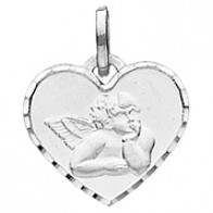 Médaille Ange coeur (Or Blanc)