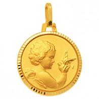 Médaille Ange et Colombe facettée (Or Jaune)