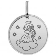 Médaille ange dans les cieux (Or Blanc 9K)