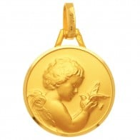Médaille Ange et Colombe (Or Jaune 9K)