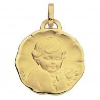 Médaille Ange à la rose (Or Jaune 9K)