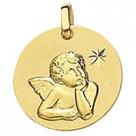 Médaille Ange étoile ciselée (Or Jaune)