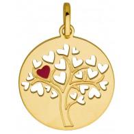 Médaille L'arbre au coeur rouge (Or jaune 9K)