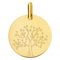 Médaille arbre de vie en fleurs (Or Jaune 9K)