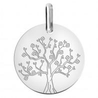 Médaille arbre de vie en fleurs (Or Blanc 9K)