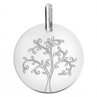 Médaille arbre de vie stylisé (Or Blanc 9K)