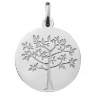 Médaille arbre de vie printanier (Or Blanc 9K)