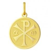 Médaille Chrisme satinée/brillante (Or Jaune)