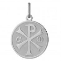 Médaille Chrisme satinée/brillante (Or Blanc)