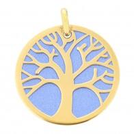 Médaille Arbre de Vie sur fond bleu (Or jaune et acier)