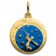 Médaille Petit Prince aux oiseaux (Or Jaune)