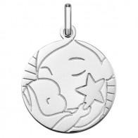 Médaille Vierge et l'Enfant à l'étoile 15mm (Argent)