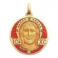Médaille Christ Email Rouge Opaque