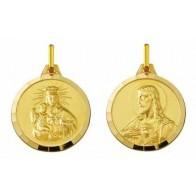 Médaille Scapulaire: Vierge du Mont Carmel / Christ sacré coeur Facettée (Or Jaune)