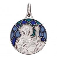 Médaille Emaillée Sainte Rita Bleue (Argent)
