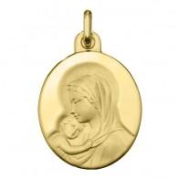 Médaille Madone à l'Enfant Ovale (Or Jaune)