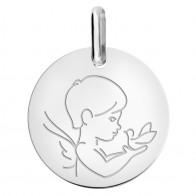 Médaille petit ange à la colombe (Or Blanc 9K)