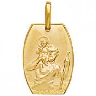 Médaille Saint-Christophe tonneau (or jaune)