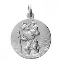 Médaille Saint-Christophe (or blanc)