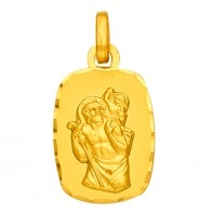 Médaille St Christophe Rectangle (Or Jaune 9k)